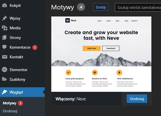 Zainstaluj pobrany szablon Divi w CMS WordPress